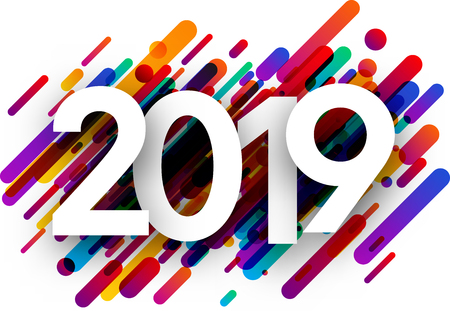 Ilustración de 2019 new year sign with colorful paint strokes on white background. Vector paper illustration. - Imagen libre de derechos