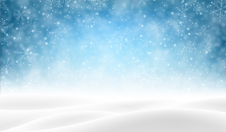 Illustration pour Blue shiny blurred poster with winter landscape and snow for seasonal, Christmas and New Year decoration. Vector background. - image libre de droit
