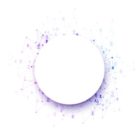 Illustration for Round paper shape with colorful polygonal mesh for text. Social networking Vector illustration.  - Royalty Free Image