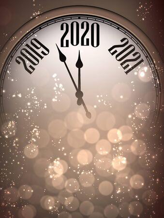Ilustración de Golden shiny Happy New Year 2020 card with clock and lights. Bokeh effect. Vector background.  - Imagen libre de derechos