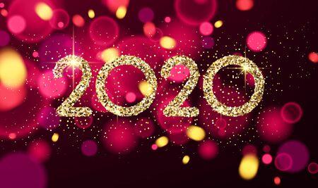 Ilustración de Happy New Year 2020 card with shiny colorful confetti. Vector bokeh background. - Imagen libre de derechos