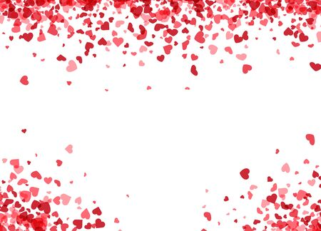 Illustration for Love valentine's background with pink falling hearts over white. Vector illustration. - Royalty Free Image