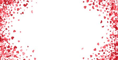 Illustration for Valentines day card. Heart confetti falling over white background for greeting cards, wedding invitation. Vector illustration. - Royalty Free Image