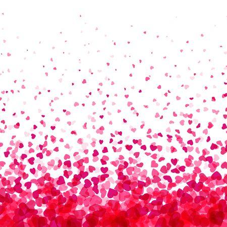 Illustration pour Valentines day card. Heart confetti falling over white background for greeting cards, wedding invitation. Vector illustration.  - image libre de droit