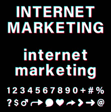 Internet marketing sign with small letters and capital letters. White words  with blue, red, pink borders on black background. Text above symbols and  numbers. Vector icons for social media.: Royalty-free vector graphics