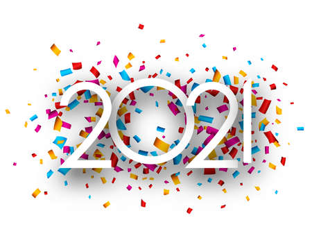 Illustration for 2021 thin paper sign on multicolored confetti background. Vector holiday illustration. - Royalty Free Image