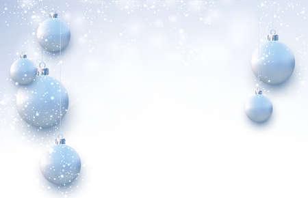 Illustration pour Matt light blue christmas balls hanging on threads. Snowing weather. Space for text. Vector festive illustration. - image libre de droit