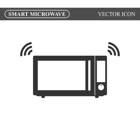 Smart microwave oven icon. Internet of