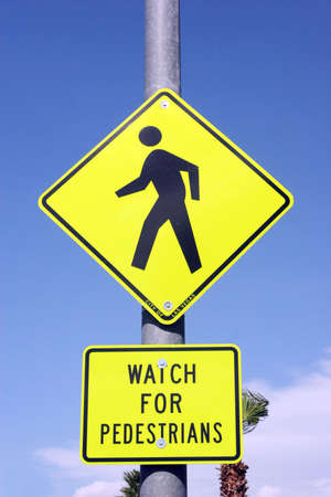 Photo for Pedestrian crossing road sign - Royalty Free Image