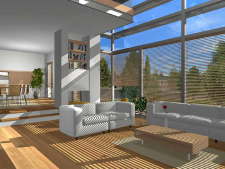3D render of modern living room