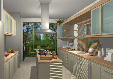 3D render of a modern kitchen