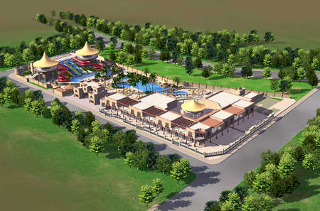 3d render of a water park