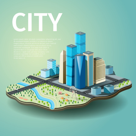 Vector illustration of city with skyscrapers and amusement park. EPS 10 file