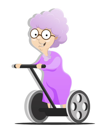 The grandmother on the alternative transport vehicle. EPS 10 file