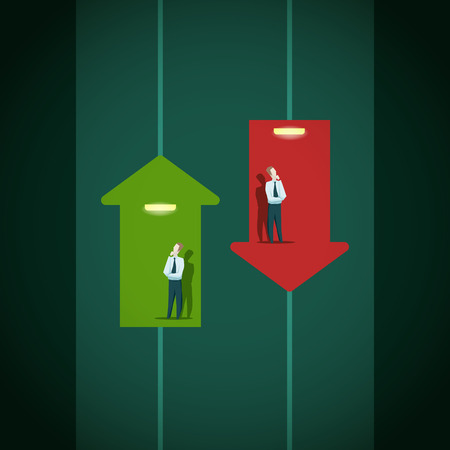 Illustration pour Raise and fall of business indicators. Career lift concept.EPS 1o file - image libre de droit