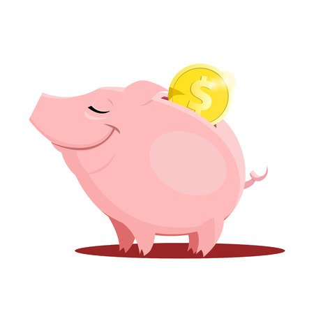 Vector illustration of Piggy bank with a coin