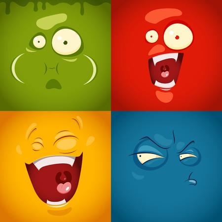 Cute cartoon emotions fear, disgust, laugh, suspicion- vector illustration. EPS 10 file
