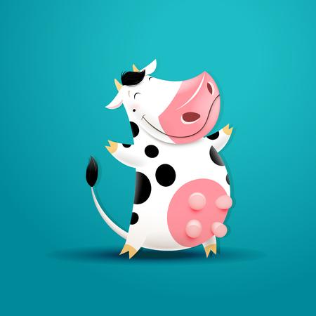 Ilustración de Vector illustration of funny smiling cow. - Imagen libre de derechos