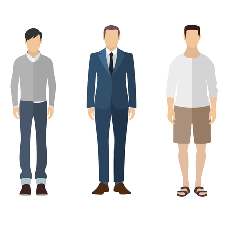 Illustration pour Three men flat style icon people figures in different views like: man in casual dress, business man dress, pleasure clothes - image libre de droit