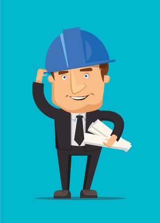 Chef construction engineer man and architect worker with ceo building blueprint and a helmet illustration