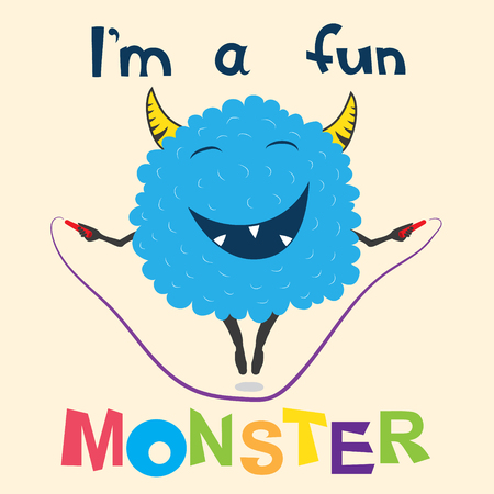 Illustration pour A cheerful monster jumps on the rope - image libre de droit