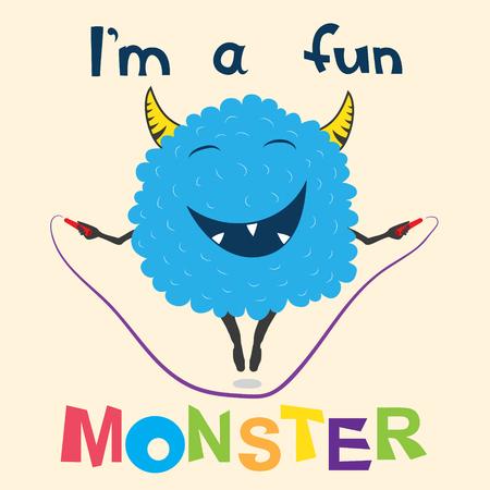 Ilustración de A cheerful monster jumps on the rope - Imagen libre de derechos