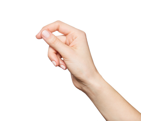Foto de Woman's hand holding something, isolated on white - Imagen libre de derechos