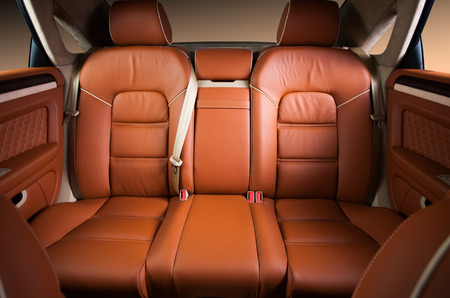 Back passenger seats in modern comfortable car