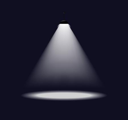 illustration of simple single spot light on dark background.