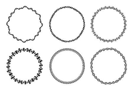 Ilustración de Collection of round decorative frames and labels with lines, symmetric geometric shapes . - Imagen libre de derechos