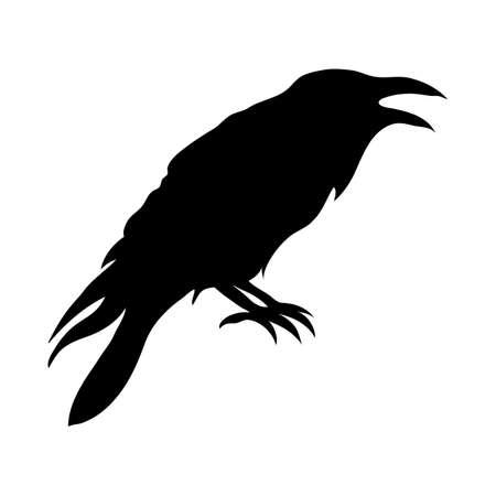 Illustration pour Ravens black silhouette. Vector illustration isolated on white background EPS 10 - image libre de droit
