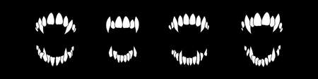 Illustration pour Vampire teeth vector isolated on black background. Halloween set. - image libre de droit
