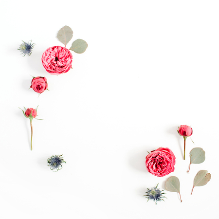 Frame made of red rose flower buds, eucalyptus branches isolated on white background. Flat lay, top view. Floral background concept.