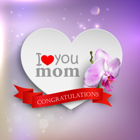 I love you mom Abstract holiday background with paper hearts, orchid flower and ribbon Mothers day concept