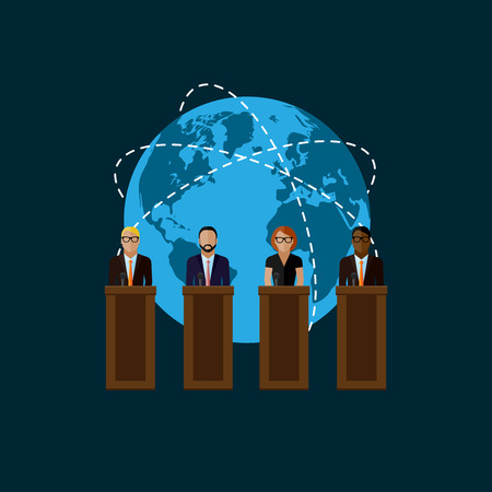 vector flat  illustration of a speakers and globe symbol. politicians. election debates or international affair press conference concept
