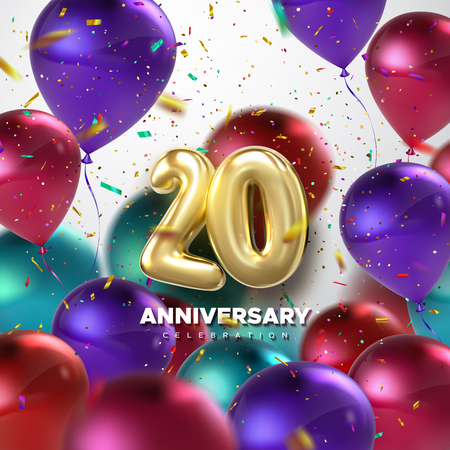 Illustration for 20th Anniversary celebration. Golden numbers with sparkling confetti and flying multicolored balloons. Vector festive illustration. Realistic 3d sign. Party event decoration - Royalty Free Image