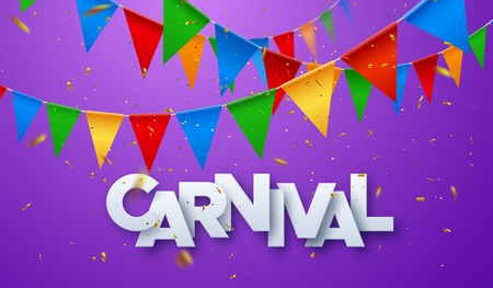 Illustration pour Carnival banner. White paper label with golden glittering confetti and colorful bunting flags. Vector illustration. Holiday event sign. Festive poster - image libre de droit