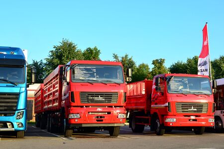 Photo for Minsk, Belarus 29/07/2019: New trucks of the Minsk Automobile Plant MAZ - Royalty Free Image