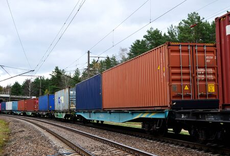 Photo for Freight train, transportation of railway cars by cargo containers shipping. Railway logistics concept - Image - Royalty Free Image
