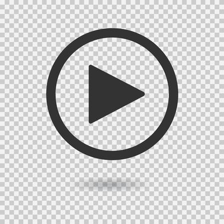 Ilustración de Play button with shadow on transparent background. Isolated sign for web. Vector icon. - Imagen libre de derechos