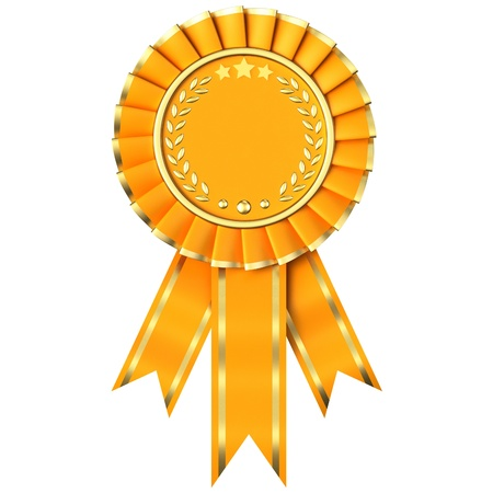 Yellow Ribbon Award isolated on white background.