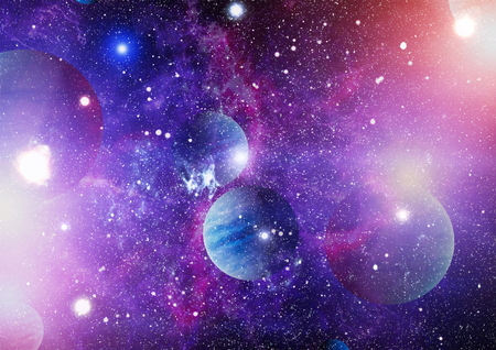Nebula and galaxies in space.