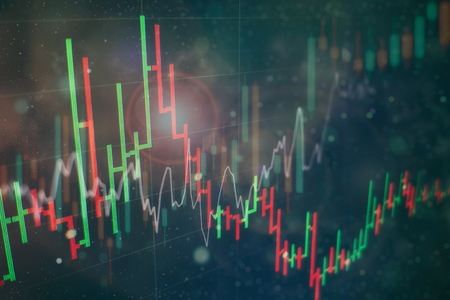Photo pour Candle stick graph chart of stock market investment trading. The Forex graph chart on the digital screen. - image libre de droit
