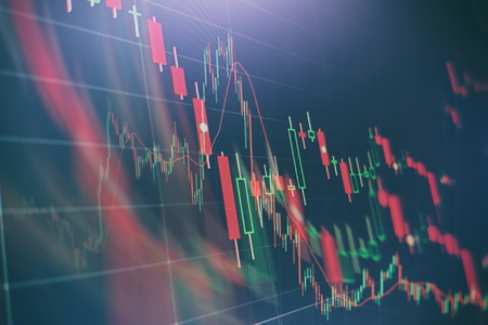 Forex trading graph and candlestick chart suitable for financial investment concept. Economy trends background for business idea and all art work design. Abstract finance background