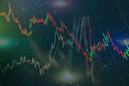 Finance or investment background concept : Display of stock market, stock exchange data or graph on monitor