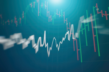 Stock market graph on led screen. Finance and investment concept. Selective focus