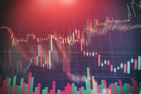Photo for Abstract glowing forex chart interface wallpaper. Investment, trade, stock, finance and analysis concept. - Royalty Free Image