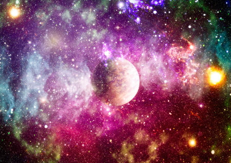 Photo for Far being shone nebula and star field against space. - Royalty Free Image