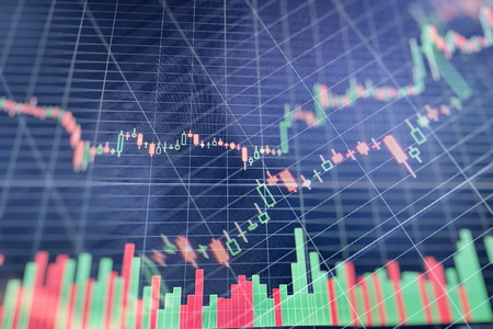 Foto de graph with diagrams on the stock market, for business and financial concepts and reports.Abstract blue background. - Imagen libre de derechos