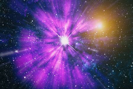 Photo for Colored nebula and open cluster of stars in the universe. - Royalty Free Image